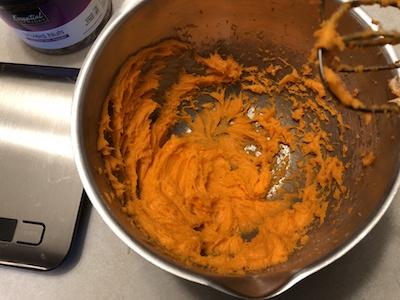 Orange Jello mixed in cream cheese