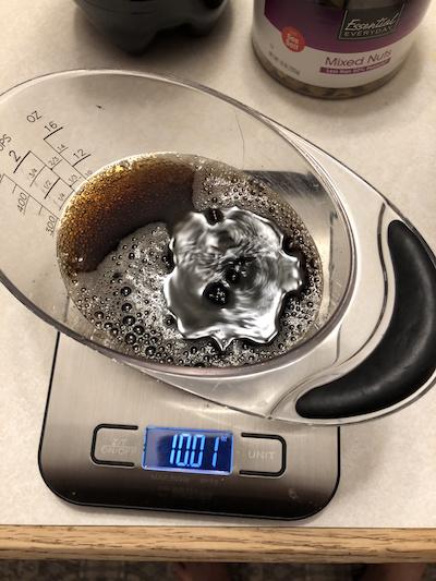 Measuring 10 ounces of generic Coke