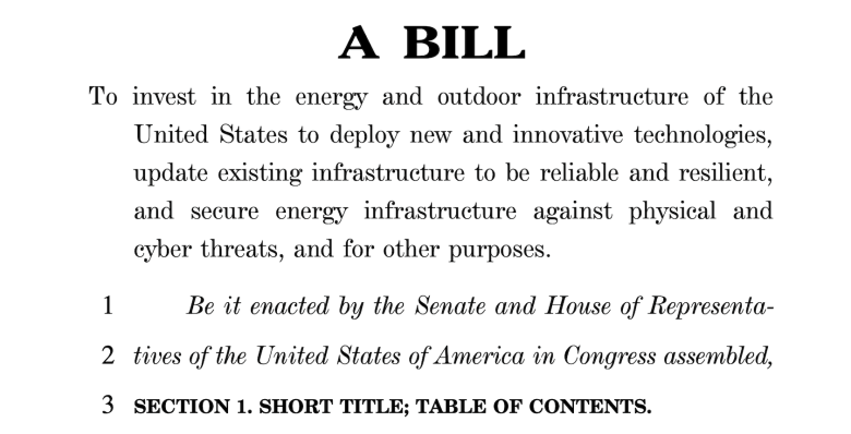 Screenshot of text from the Energy Infrastructure Act of 2021.
