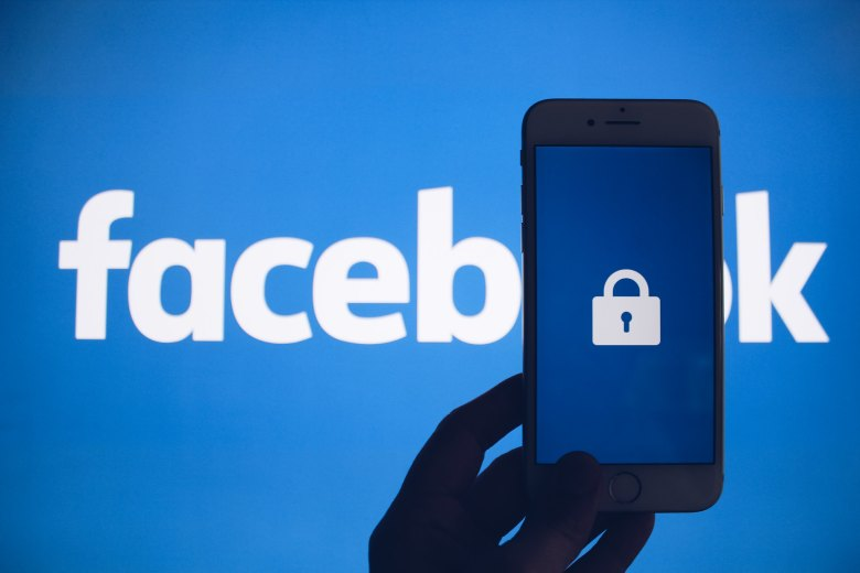 Facebook logo with phone and lock image
