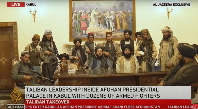 Screenshot from Al Jazeera showing Taliban leaders in Afghanistan