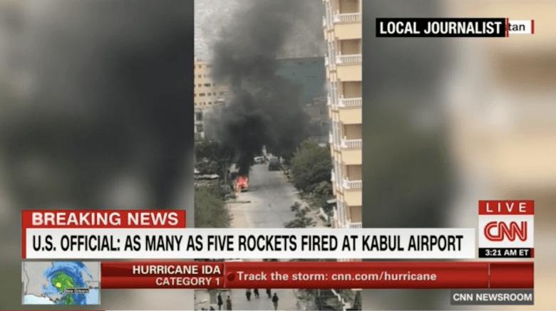 Screenshot of aftermath of U.S. airstrike on Kabul neighborhood