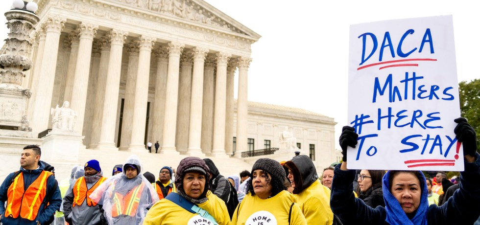 DACA supporters rally outside the U.S. Supreme Court.