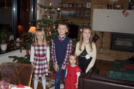 Røskva, Bjarke og deres kusiner Ronja og Frida (Fætter Asbjørn og Sebastian gad ikke lige med på billedet)