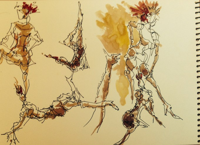 Walnut ink |archival pen| watercolor, Los Angeles model Xine, figure drawing 1 minute poses studies
