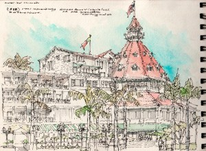 watercolor_pen + ink, on site sketch_building massing & articulation wood frame historic hotel