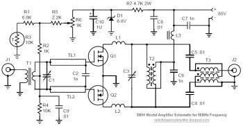 Radio Frequency Amplifier: 50MHz 300W MOSFET Amplifier Circuit