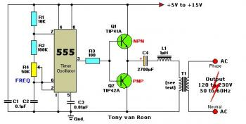 12V DC to 120/230V AC Inverter circuit with IC 555 diagram