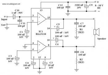18 Watt Audio Amplifier with HA13118 circuit diagram