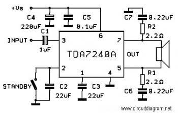TDA7240A, 20W Car Amplifier Circuit « Audio Circuit