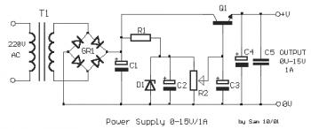 Simple Variable Power Supply 0-15VDC / 1A