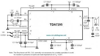 80W Audio Amplifier Based on TDA7295 circuit diagram