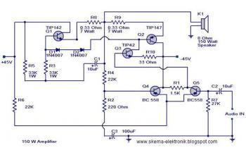 subwoofer wiring diagram dual 2 ohm ge washer motor 150w audio power amplifier - electronic schematic