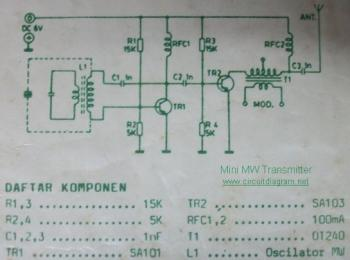 Mini MW Transmitter circuit diagram