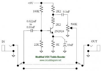 VOX Treble Booster circuit diagram