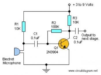 Simple Audio Pre-Amplifier - Schematic Design on