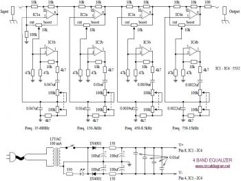 circuits: 4 Band Audio Graphic Equaliser Circuit