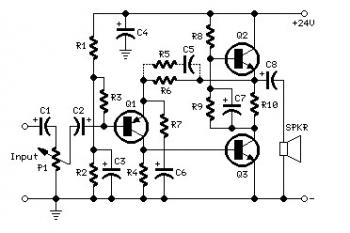 schematics: 3W- 5W Audio Amplifier Circuit schematic
