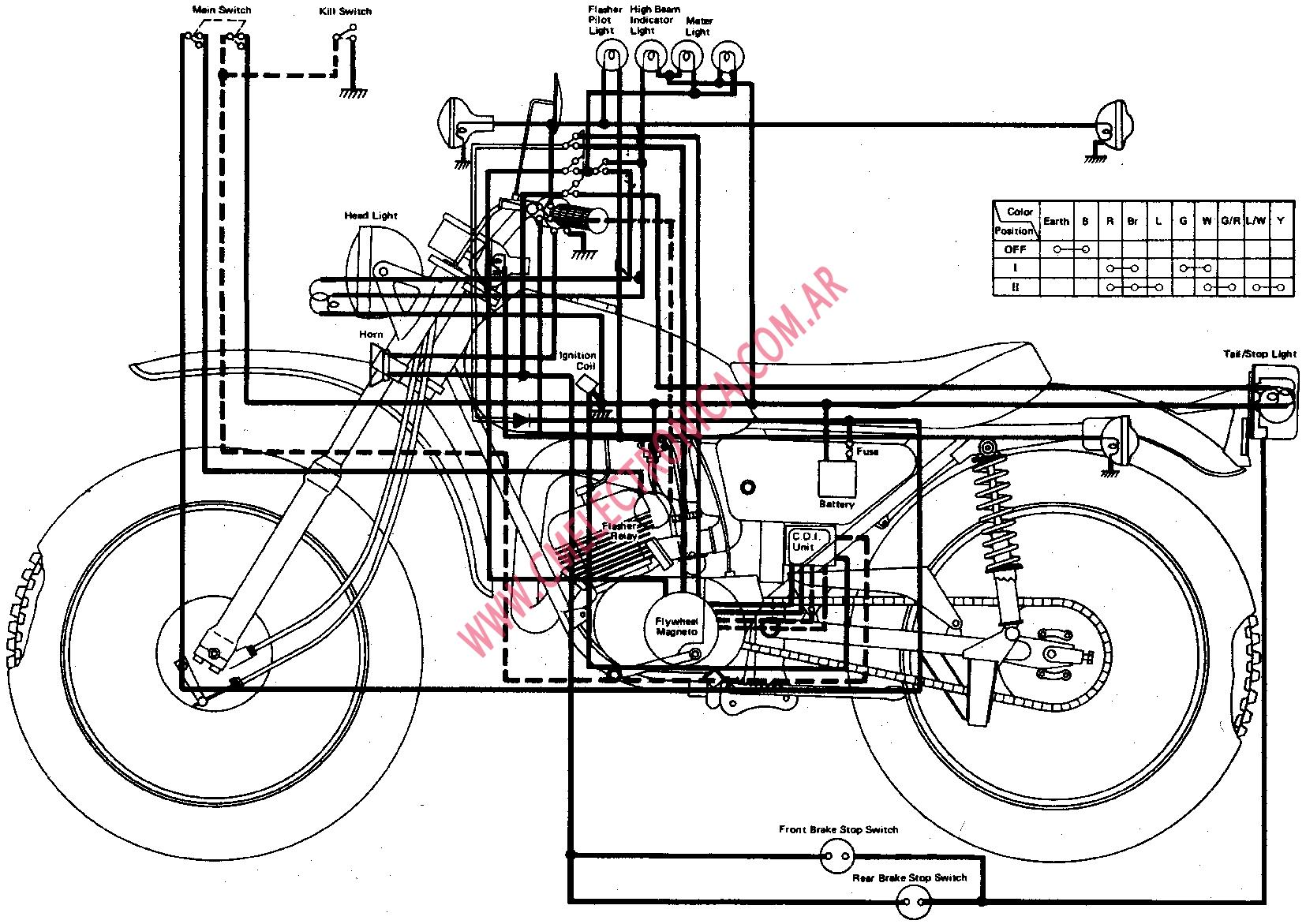 1974 Yamaha Dt175-a Color Wiring Diagram