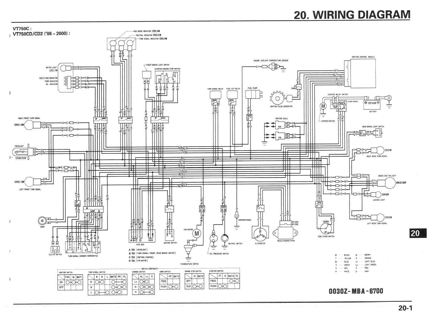2000 Honda Shadow Vlx 600 Wiring Diagram