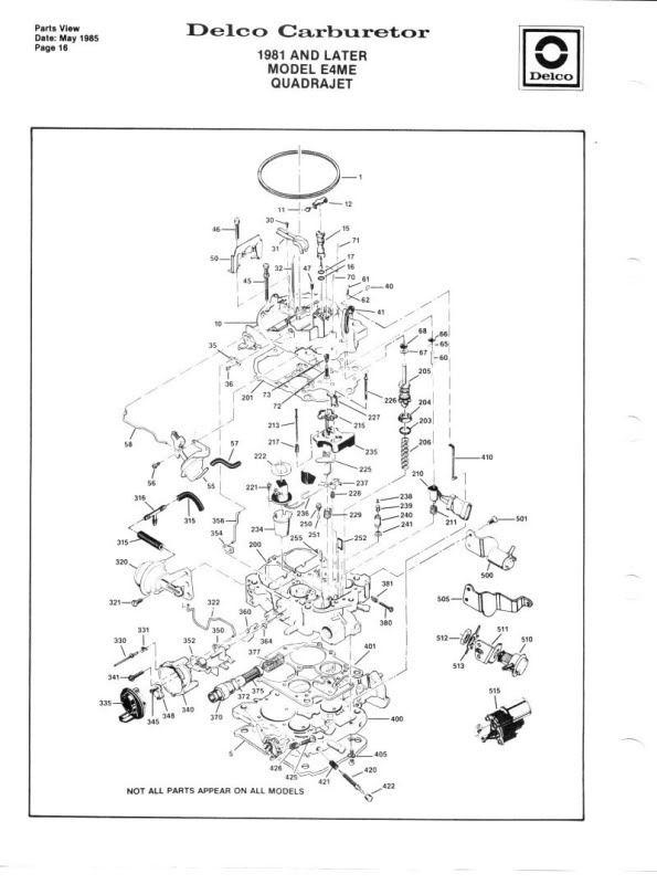 Quadrajet Parts Diagram