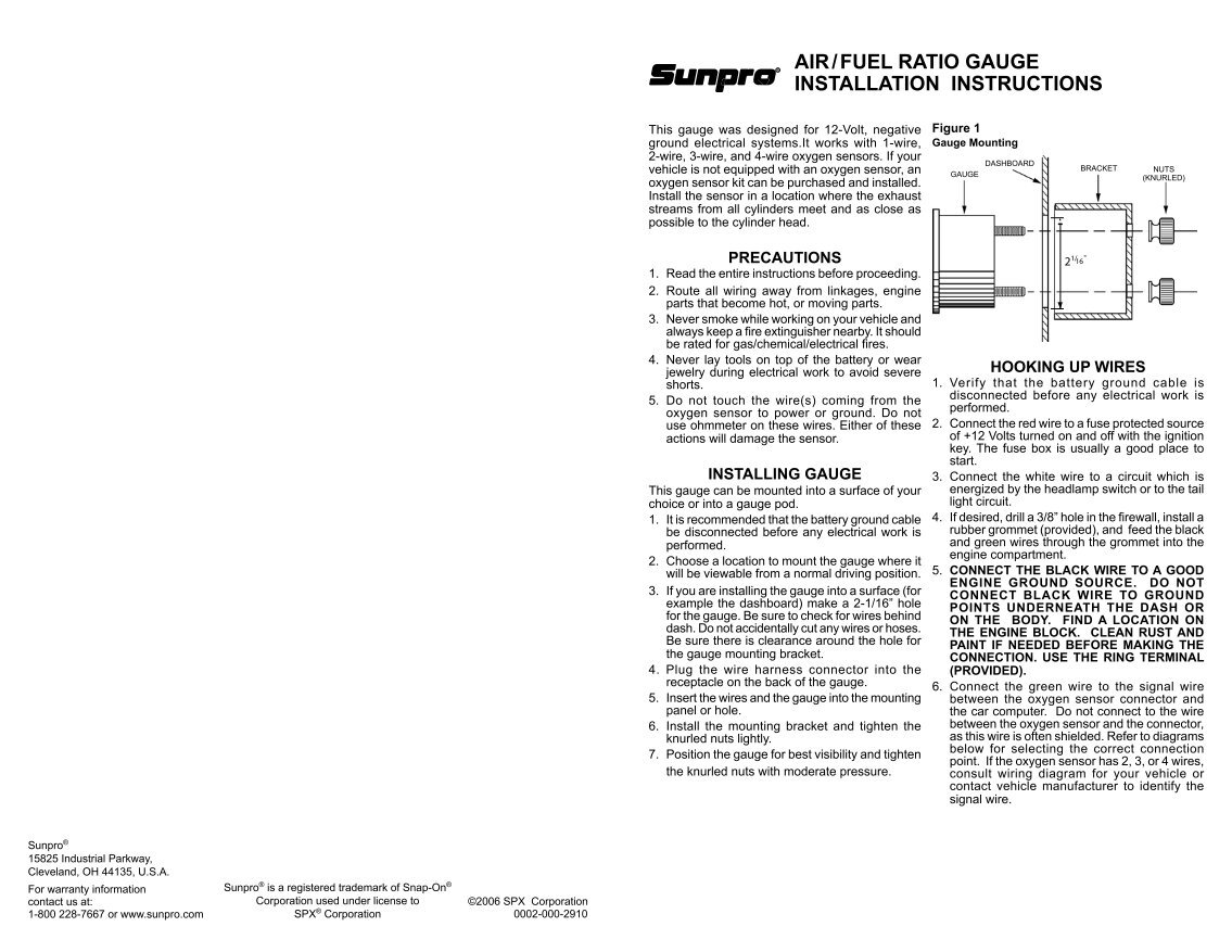 Sunpro Fuel Gauge Wiring Diagram