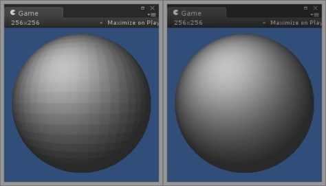 A sphere with flat and smooth shading respectively.