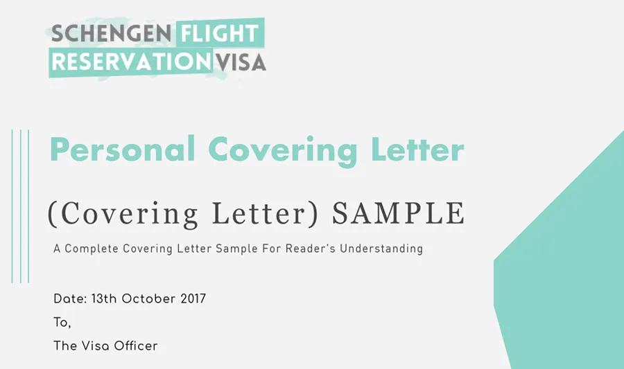 Personal Covering Letter For Visa Application - Schengen Flight Reservation Visa