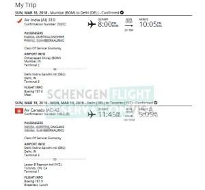 Air Canada Flight Reservation For Visa Application