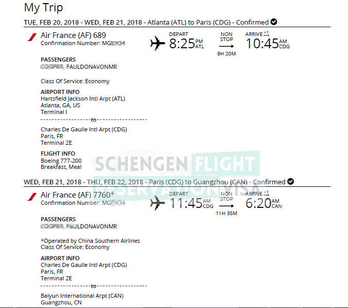 Air France Flight Reservation Sample For Visa Application