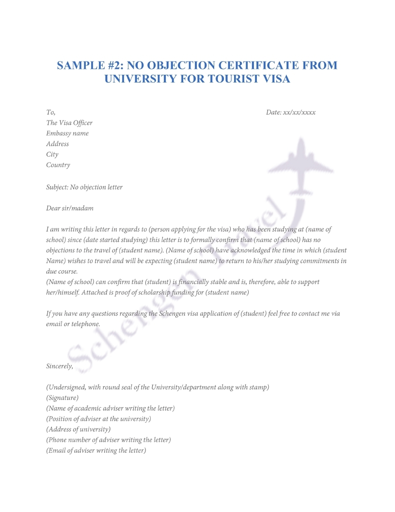 No Objection Letter for students