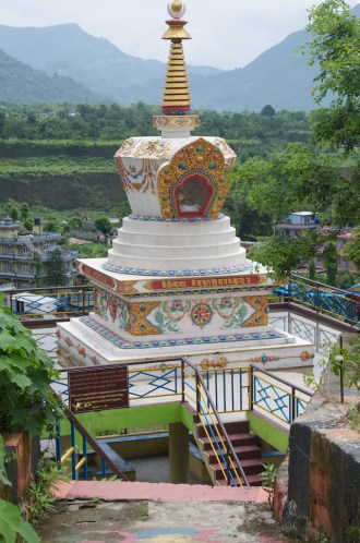 Tibetan style stupa in the middle of Pokhara