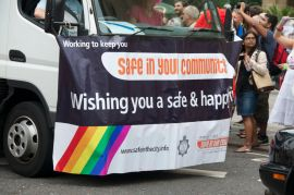 Police wishing a safe and happy pride