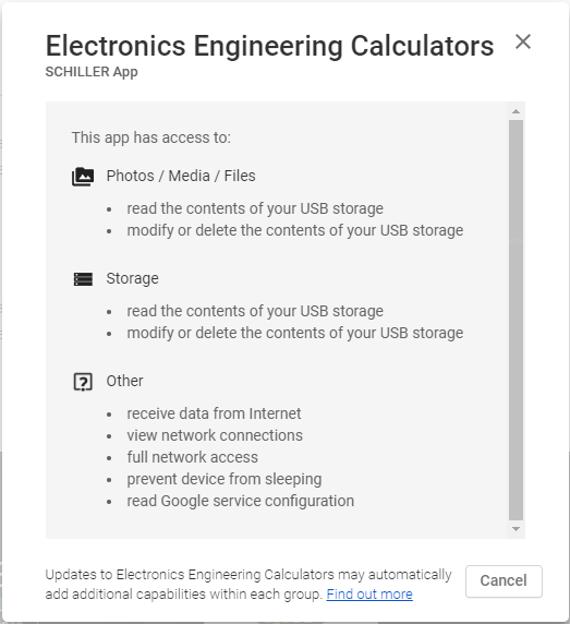 List of permissions requested as displayed on Google Play Store