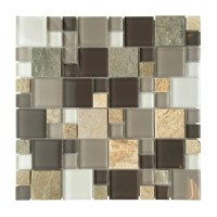 "AL1304 Grey Glass & Slate Mixed Modular 12"" x 12"" Mosaic ..."