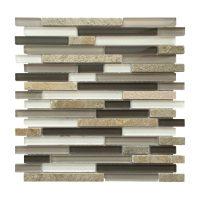 "AL2304 Slate, Stone & Gray Glass Linear 12"" x 12"" Mosaic ..."