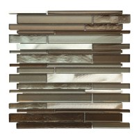 AL3300 Glass Tile and Stone, Strip Mosaic Backsplash