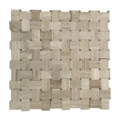 Oak Kitchen Cart Utensil Drawer Organizer Polished Wooden White Basket Weave Mosaic Sheet - Schillings