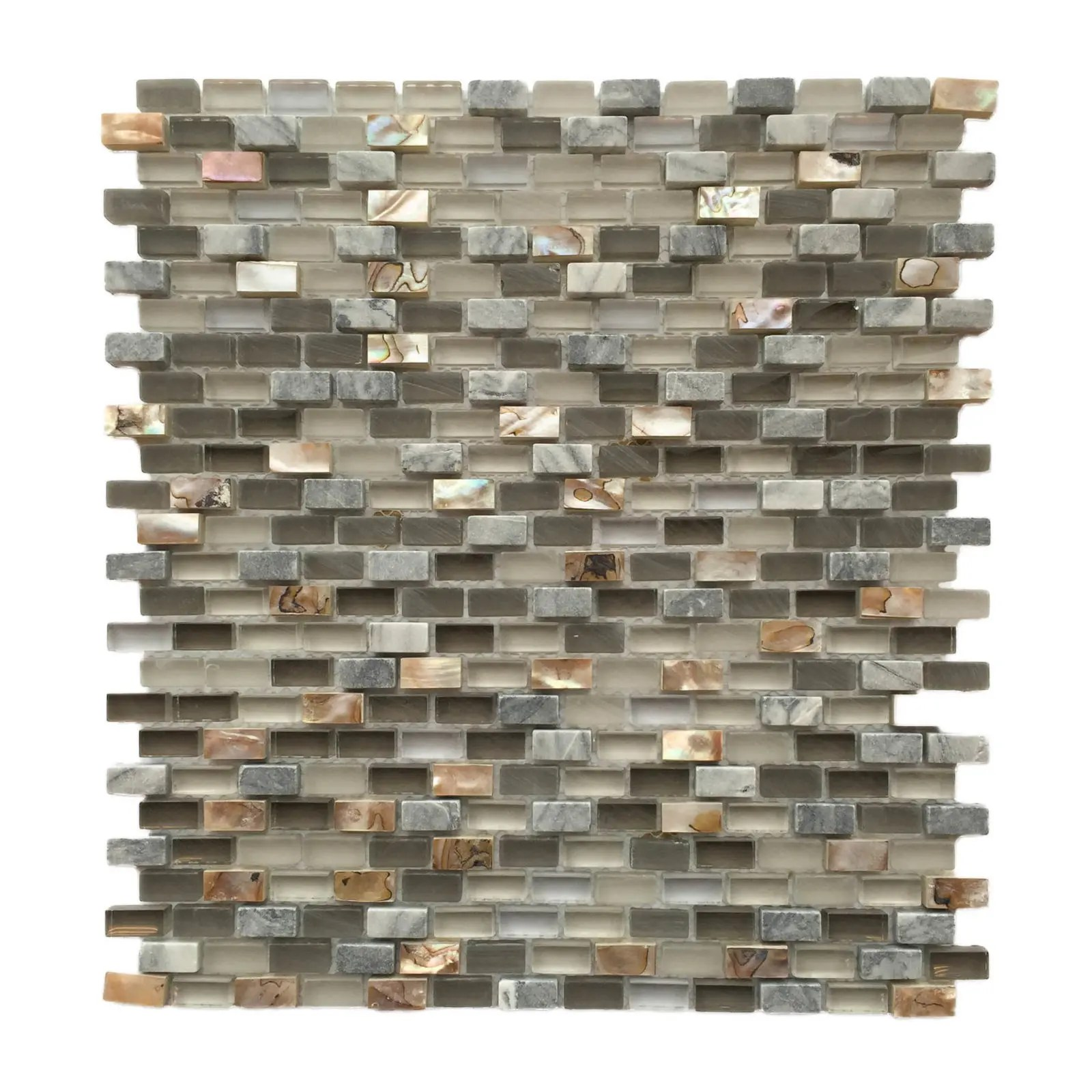 shell grey glass stone shell 3 8 x 3 8 mini brick mosaic backsplash