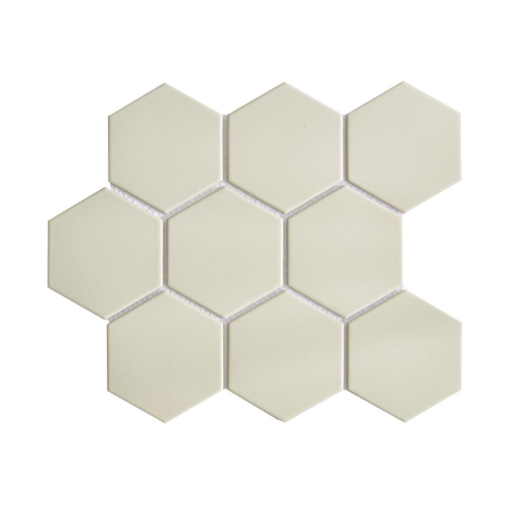 light taupe 4 hexagon porcelain mosaic tile