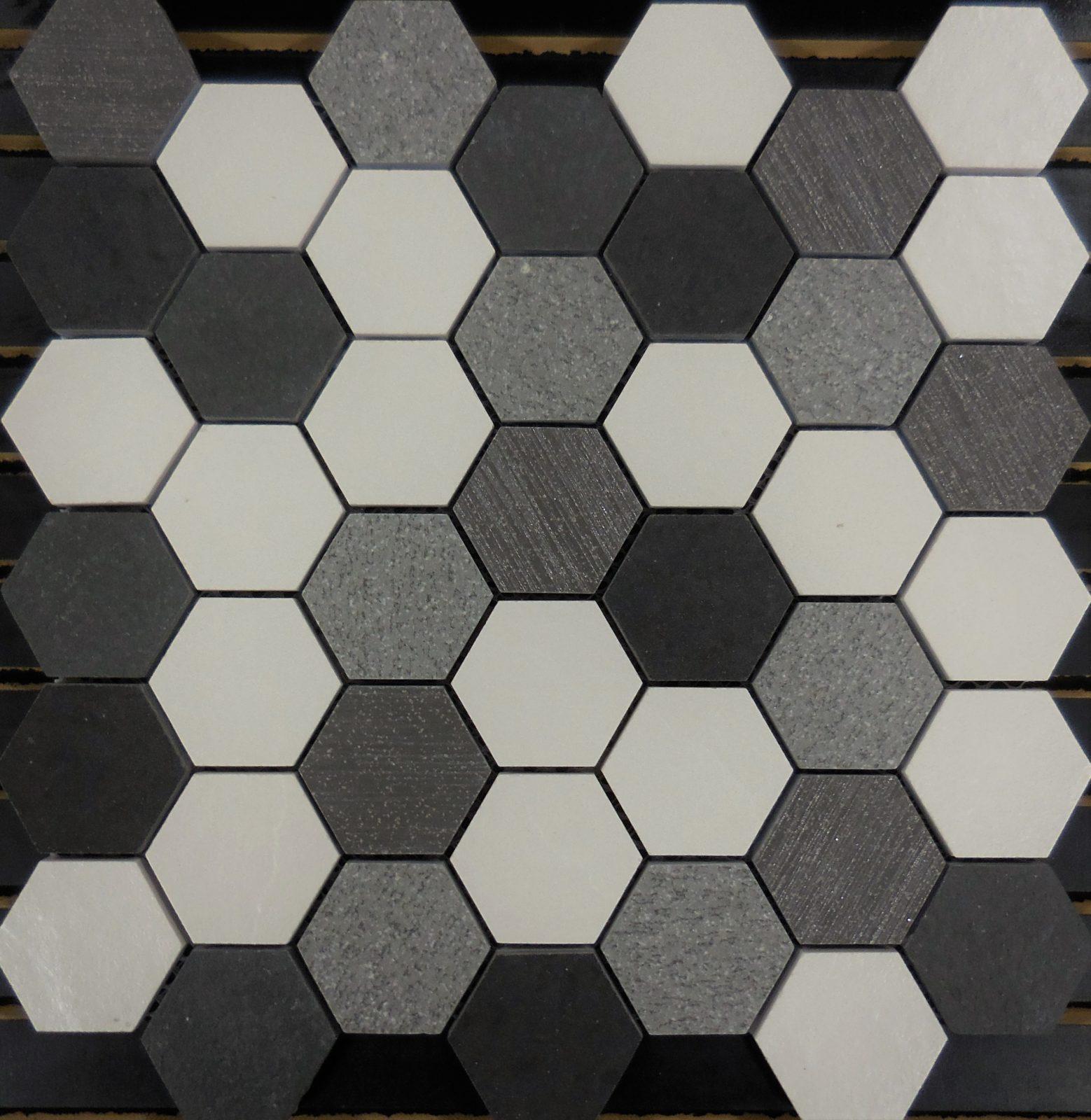 PTH7017 Porcelain Mosaic Salt N Pepper Hexagon Mosaic