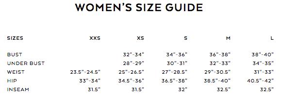 alo yoga size guide