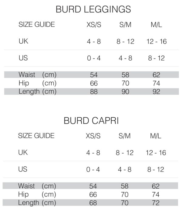 Burd Activewear Bottoms Size Chart