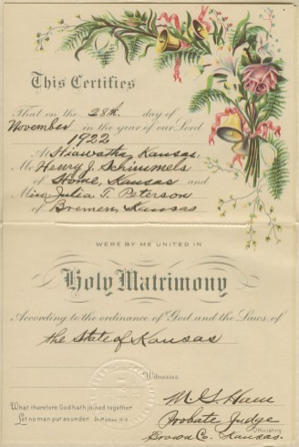 Wedding Certificate of Henry Schimmels and Julia Schimmels (nee Peterson).
