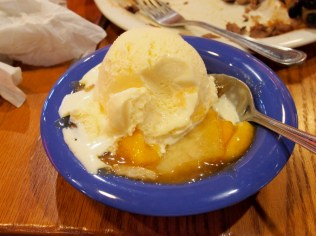 Bluebell vanilla ice cream over peach cobbler, oh my!