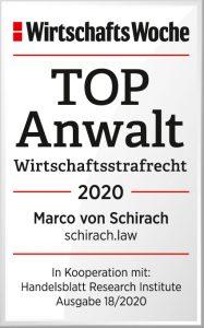 Wirtschaftswoche TopAnwalt 2020 Marco von Schirach