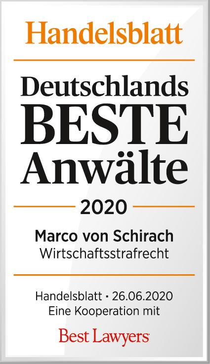 Deutschlands beste Anwälte 2020 Marco von Schirach