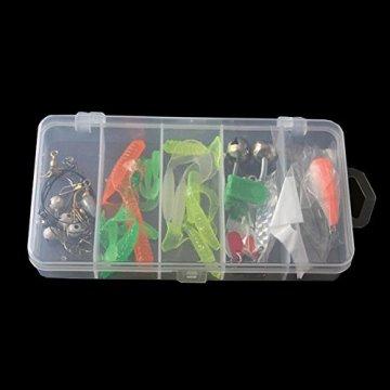 Delmkin Kunstköder 35 Stück Gummifisch Set mit Box weiche Kunststoff Wurm Angeln Köder Simulation Suite - für Anfänger und Profis Anglers -