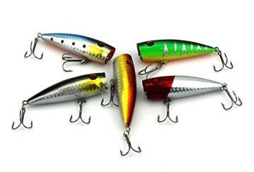 hengjia Topwater Schwimmend Lure 5Stück Popper Angeln Köder 3D-Augen lebensecht Swimbait Künstliche Crankbait Angeln Tackle Haken für Bass Forelle suchen, Hazelnut/6,5cm -