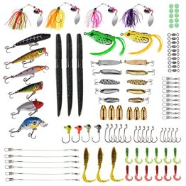 PLUSINNO® 102-teilige Kunstköder Set inklusive Stickbait,Wobbler,Würmer,Jighaken,Frösche,Blinker und Weitere Zubehörteile -